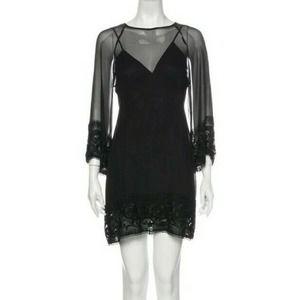 MIGUELINA Mini Shift Long-sleeve Dress Black Sheer